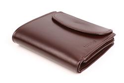 Otwierany od góry skórzany portfel dla kobiet w kolorze brązowym