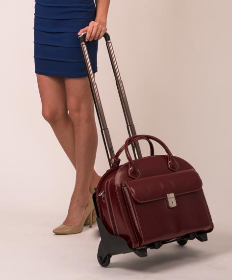 """15.6"""" Leather Detachable-Wheeled Women's Case Mcklein Glen Ellyn"""