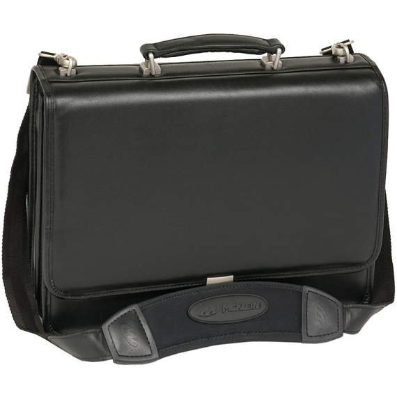 "15.6"" Leather Double Compartment Briefcase Mcklein Bucktown"