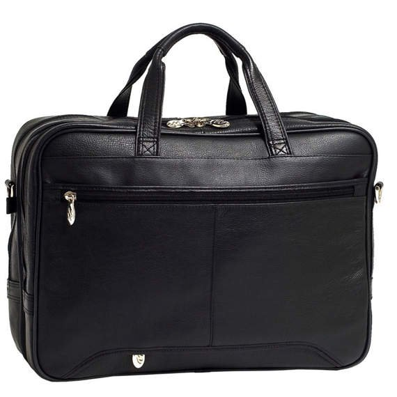 """15.6"""" Leather Expandable Double Compartment Briefcase Mcklein West Loop"""