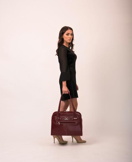 "15.6"" Leather Fly-Through™ Checkpoint-Friendly Ladies' Briefcase Mcklein Oak Grove"