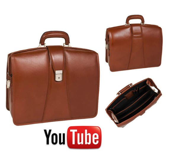 "17"" Leather Partners Laptop Brief Mcklein Harrison"