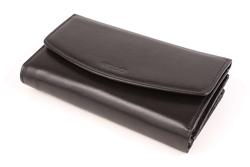 Duży i wielofunkcyjny skórzany portfel damski, kolor: czarny