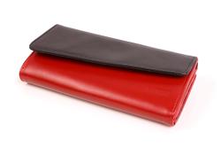 Krzykliwy portfel damski skórzany, kolor: czarno-czerwony