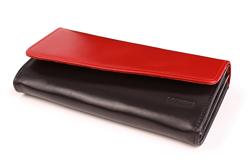 Oryginalny portfel damski skóra PPD2 Czerwono Czarny