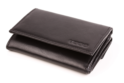 Poziomy portfel damski ze skóry w kolorze czarnym
