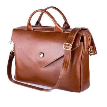 Skórzana torba na laptopa FL15 Positano brązowy vintage Solier