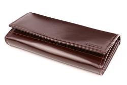 Zamykany na zatrzask portfel damski w kolorze brązowym
