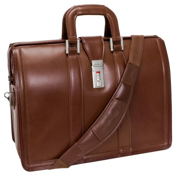 """Brązowa biznesowa teczka, torba na laptopa Morgan 17"""""""