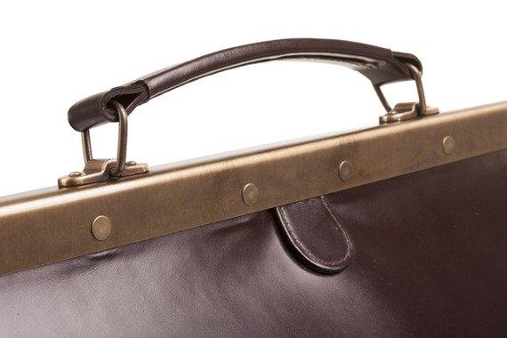Brązowy duży kufer lekarski torba skórzana 50 PK2