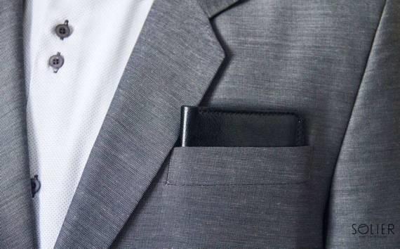 Cienki skórzany męski portfel z bilonówką SOLIER SW16 SLIM CZARNY