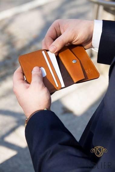 Cienki skórzany męski portfel z bilonówką SOLIER SW16 SLIM JASNY BRĄZ