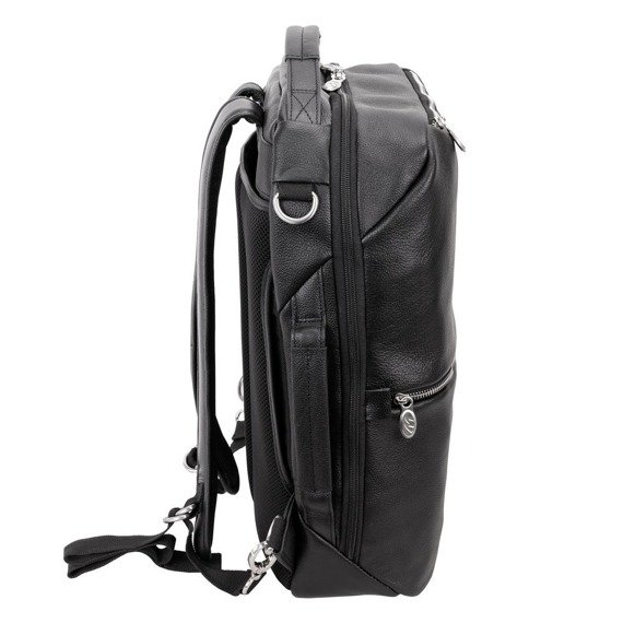 """Czarny plecak i torba podróżna East Side ze skóry naturalnej na laptopa 17"""""""