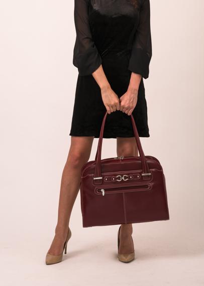 """Czerowna Damska torba na laptopa z naturalnej skóry 15,6"""" Oak Grove"""