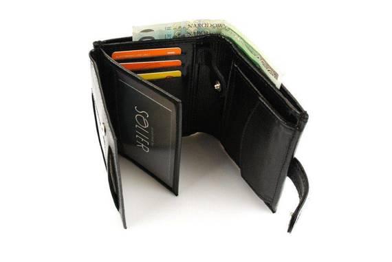Elegancki czarny skórzany męski portfel SOLIER SW01B