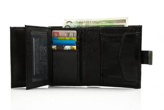 Elegancki czarny skórzany męski portfel SOLIER SW04