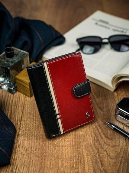 Pionowy portfel męski dwukolorowy, skóra naturalna HQ Rovicky
