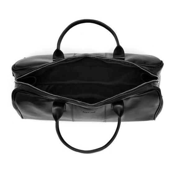 Podróżna torba na ramię ze skóry brodrene r10 czarny smooth leather