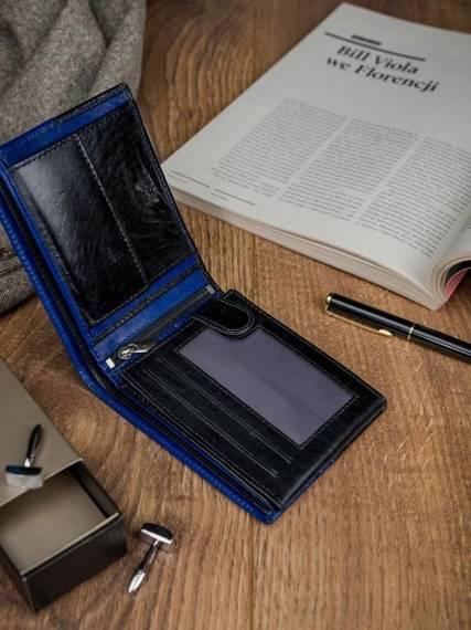 ROVICKY klasyczny portfel męski skórzany RFID stop N992-VT2 BLACK-BLUE