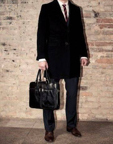 Skórzana męska torba na ramię, laptopa Solier SL01 DUNDEE czarna