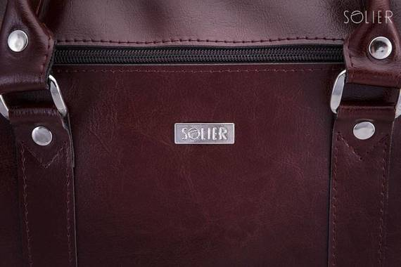 """Skórzana torba na ramię laptopa 17"""" Solier SL03 KILBRIDGE Burgundowy"""