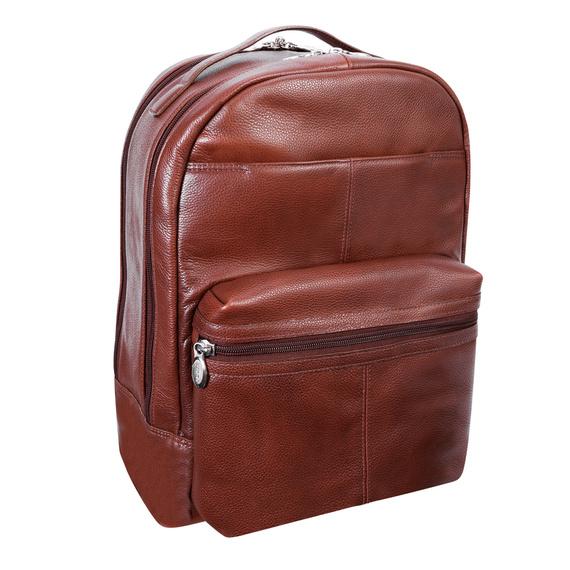 Skórzany plecak Parker miejski na laptopa, regulowana długość szelek
