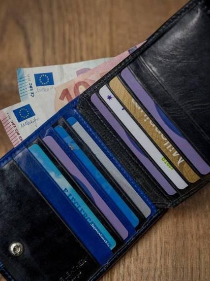 Skórzany portfel poziomy dwukolorowy składany Rovicky