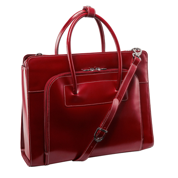 "Torba Lake Forest Red 15,6"" skórzana dla bizneswoman na laptopa"